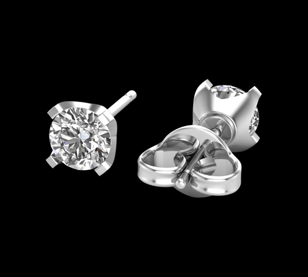 Puces d'oreilles 4 Griffes Diamant