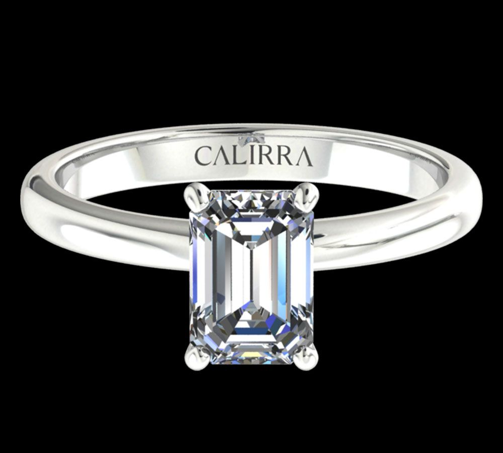Solitaire simple Leona diamant Emerald cut