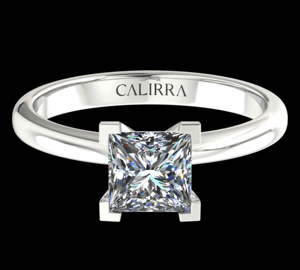Solitaire simple Leona diamant Princesse cut