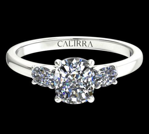 Solitaire Lyne diamant Cushion cut