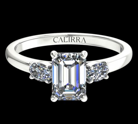Solitaire Lyne diamant Emerald cut