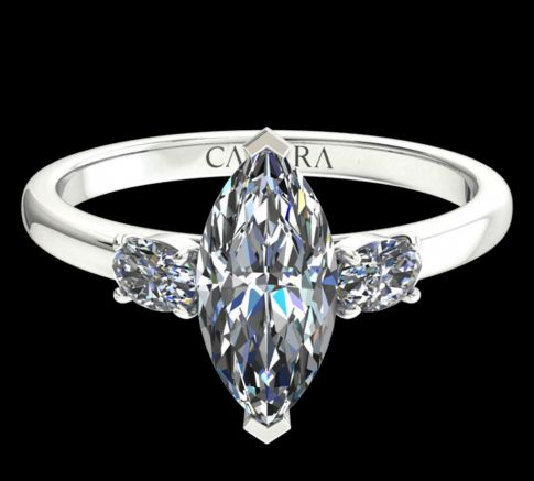Solitaire Lyne diamant Marquise cut