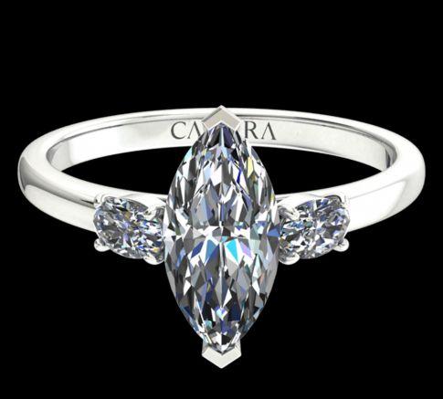 Solitaire Lyne diamant Marquise cut