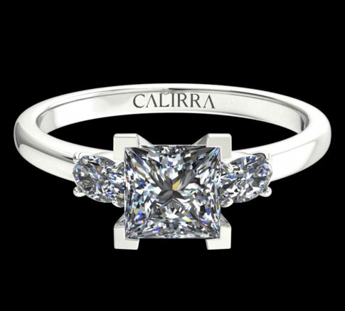 Solitaire Lyne diamant Princess cut