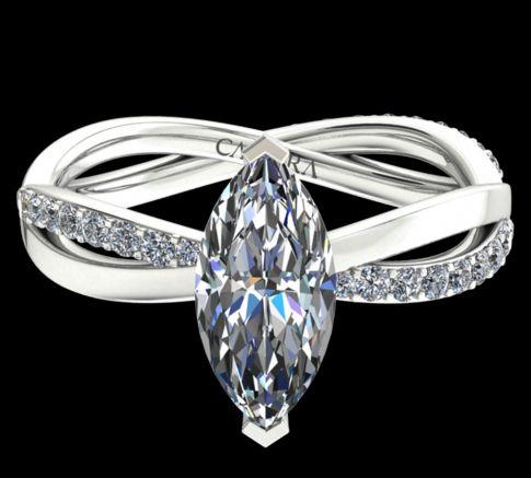 Solitaire Altesse diamant marquise cut