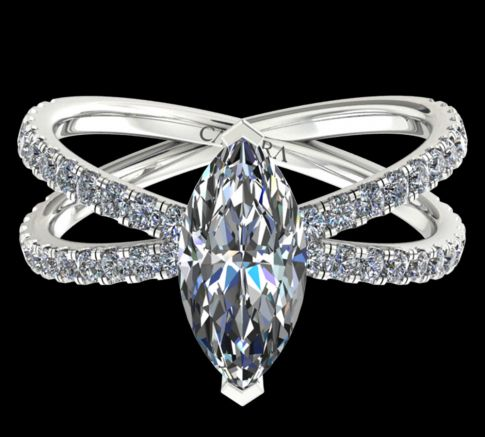 Solitaire Ylana diamant Marquise cut