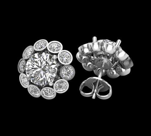 Puces d'oreilles Marguerite Diamant round cut