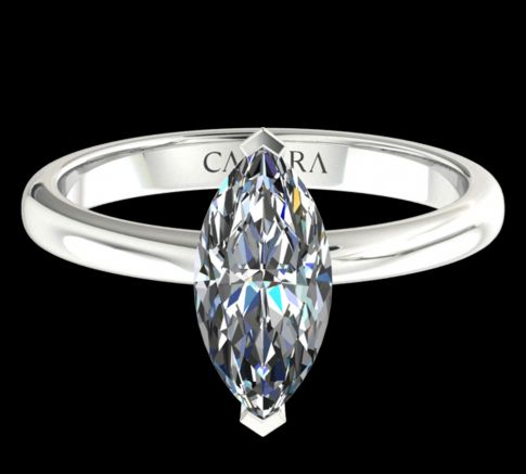 Solitaire simple Leona diamant Marquise cut