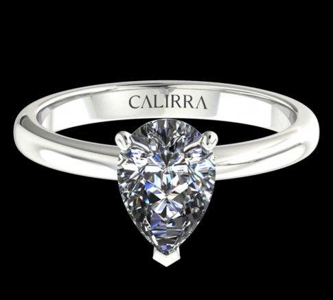 Solitaire simple Leona diamant Pear cut
