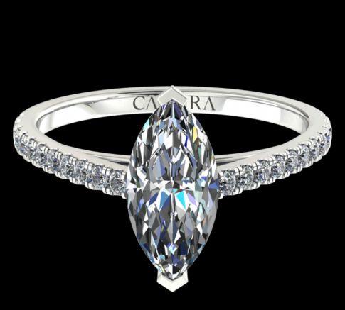 Solitaire Serti Eva diamant Marquise cut