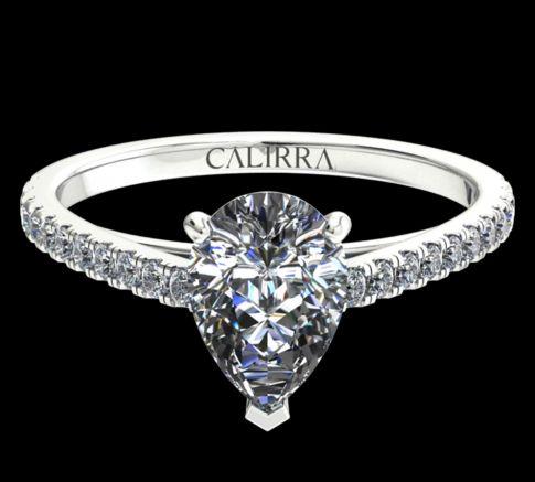 Solitaire Serti Eva diamant Pear cut