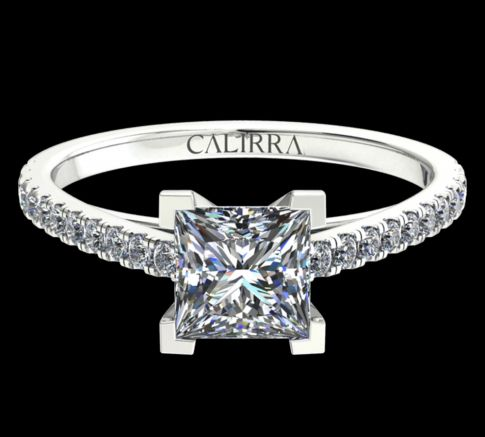 Solitaire Serti Eva diamant Princess cut