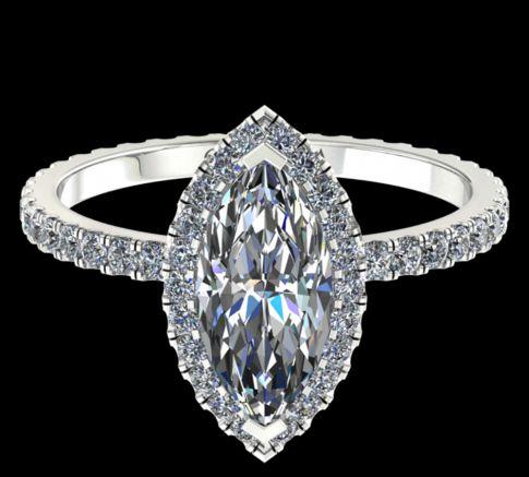 Solitaire Elyse diamant Marquise cut