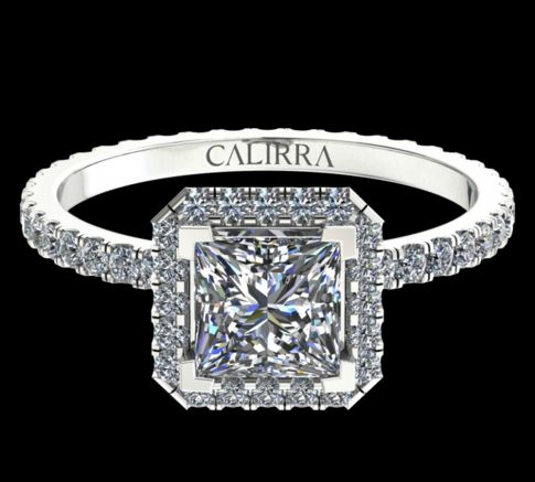 Solitaire Elyse diamant Princess cut